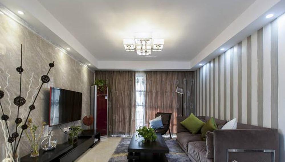 现代简约风格-绿地波士顿-三室两厅-105平米-装修实景效果图