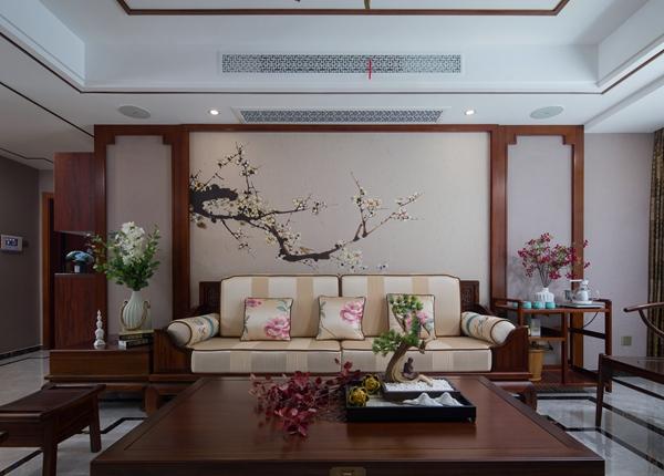 新中式风格-小天鹅品园-三室两厅-128平-装修实景效果图