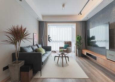 现代混搭-中洲崇安府-三室两厅-98平-装修实景效果图
