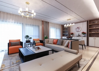 新中式风格-百和国际花园-三室两厅-228平-装修实景效果图