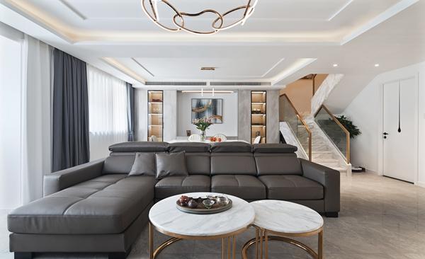 现代简约-荣耀花园-三室两厅-140平-装修实景效果图