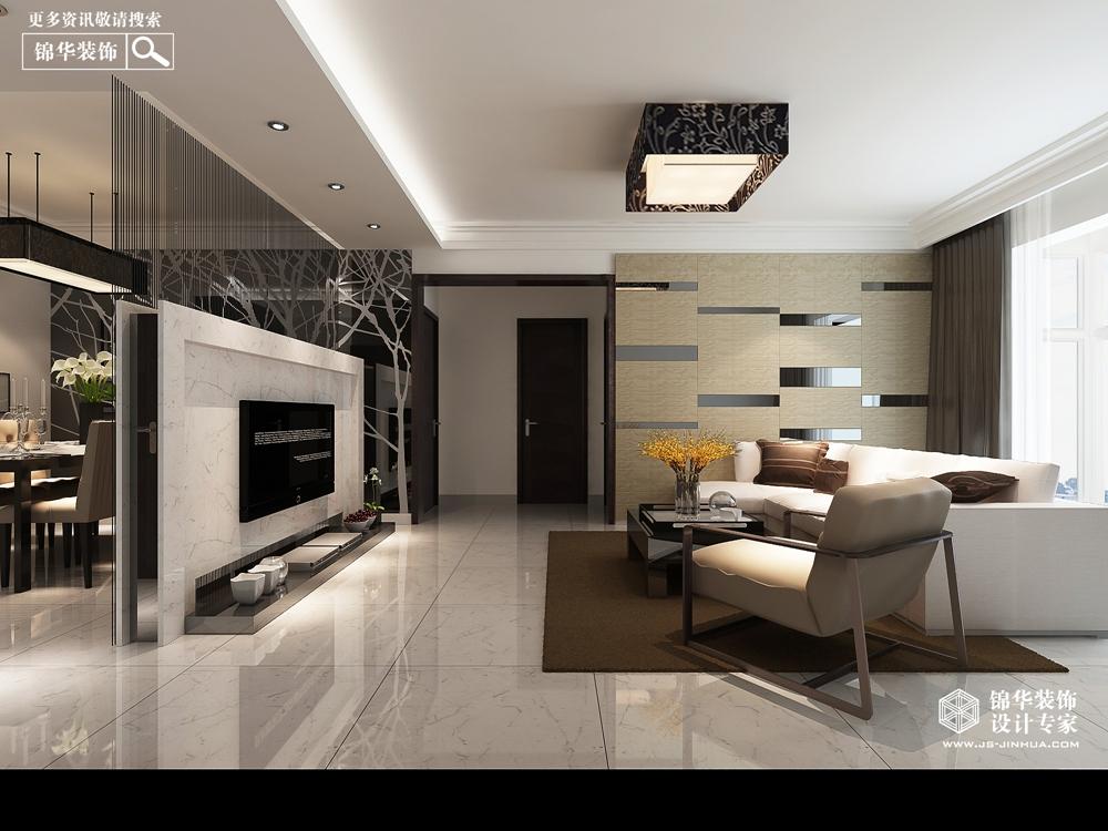 现代简约风格-绿地商务城-三室两厅-146㎡-装修实景效果图