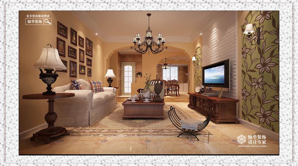 美式田园风格-苏商御景湾-三室两厅-120㎡-装修实景效果图
