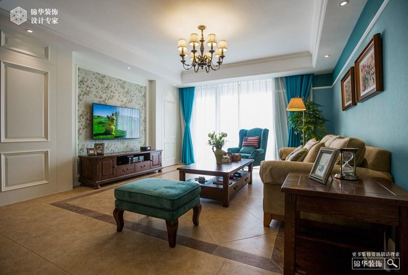 简约美式风格-万悦城三室两厅-122平米-装修实景效果图