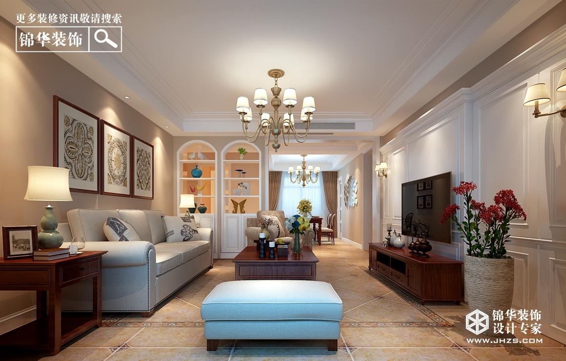 现代美式风格-月桥花院-三室两厅-136㎡-装修实景效果图