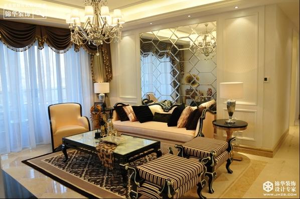 简欧风格-风尚米兰-三室两厅-125平米-装修实景效果图