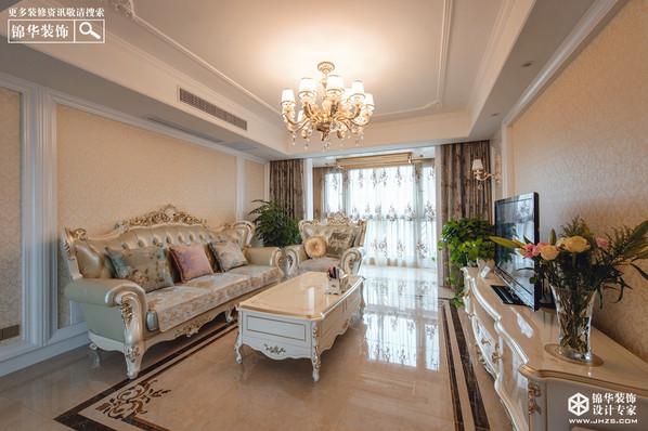 欧式风格-世茂东都-三室两厅-125㎡-装修实景效果图