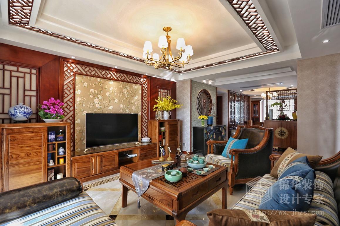 新中式风格-融创熙园-三室两厅-140㎡-装修实景效果图