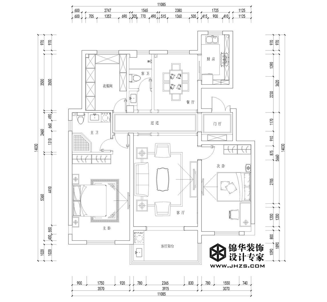月桥花院8号楼  130㎡  美式风格装修-三室两厅-美式田园