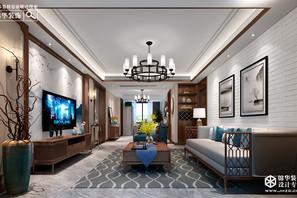 新中式风格-南湖尚苑-三室两厅-125平米-装修实景效果图