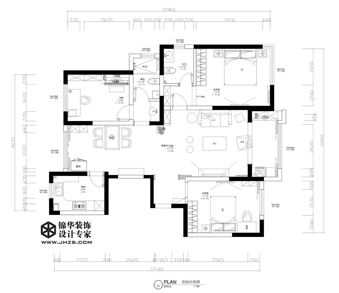 南湖尚苑2号楼   125㎡ 新中式风格装修-三室两厅-新中式
