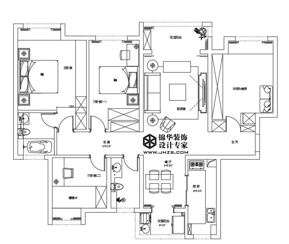 汉源国际丽城8号楼 160㎡  时尚艺术风格装修-大户型-混搭