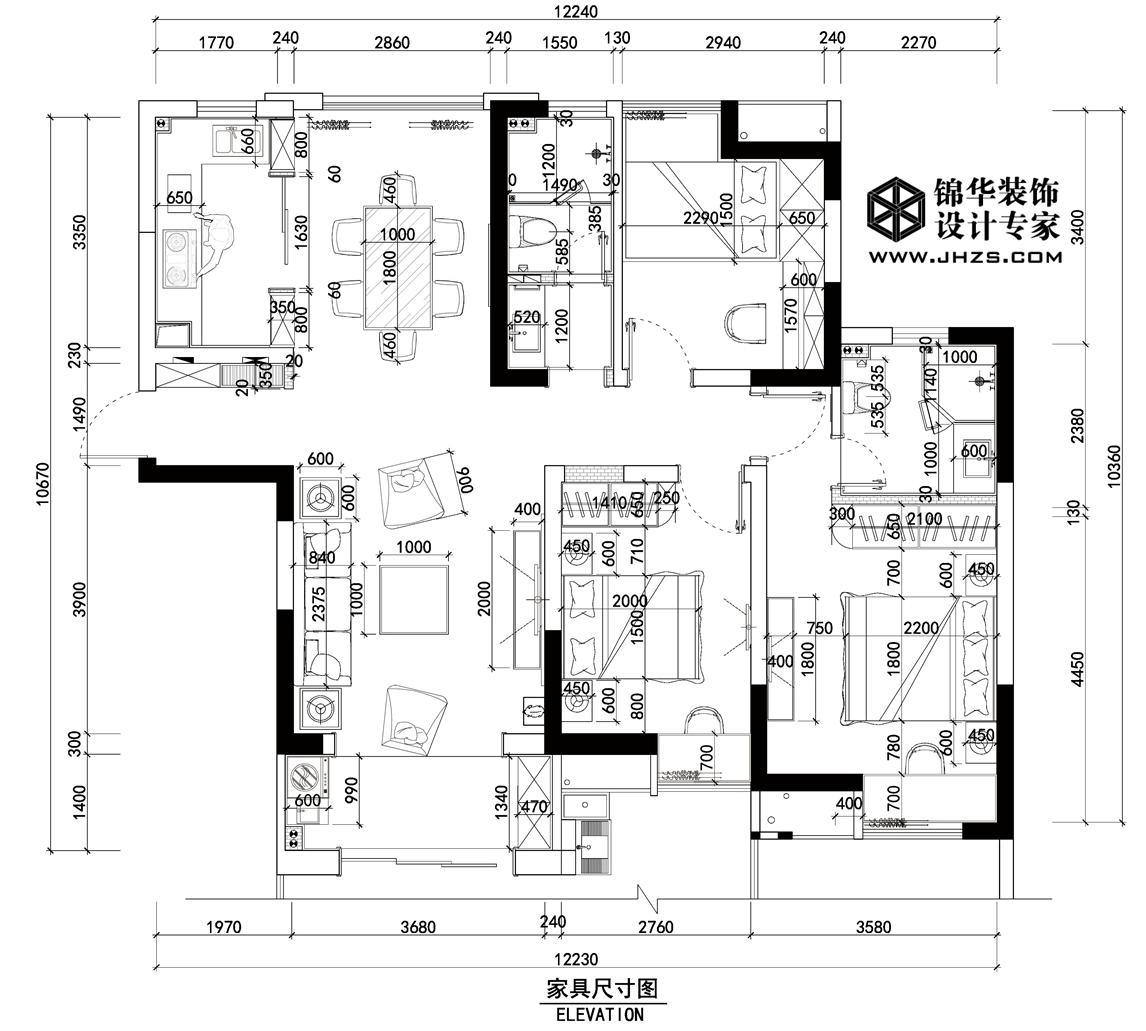 美的翰城 138平方米 港式风格装修-三室两厅-混搭