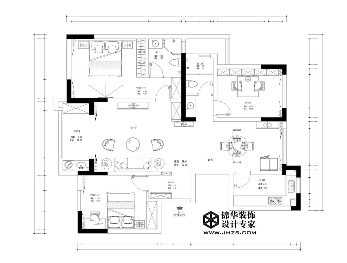 南湖尚苑12号楼  125㎡ 美式风格装修-三室两厅-简美