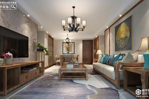 现代新中式-天山绿洲四期-三室两厅-123平米-装修实景效果图