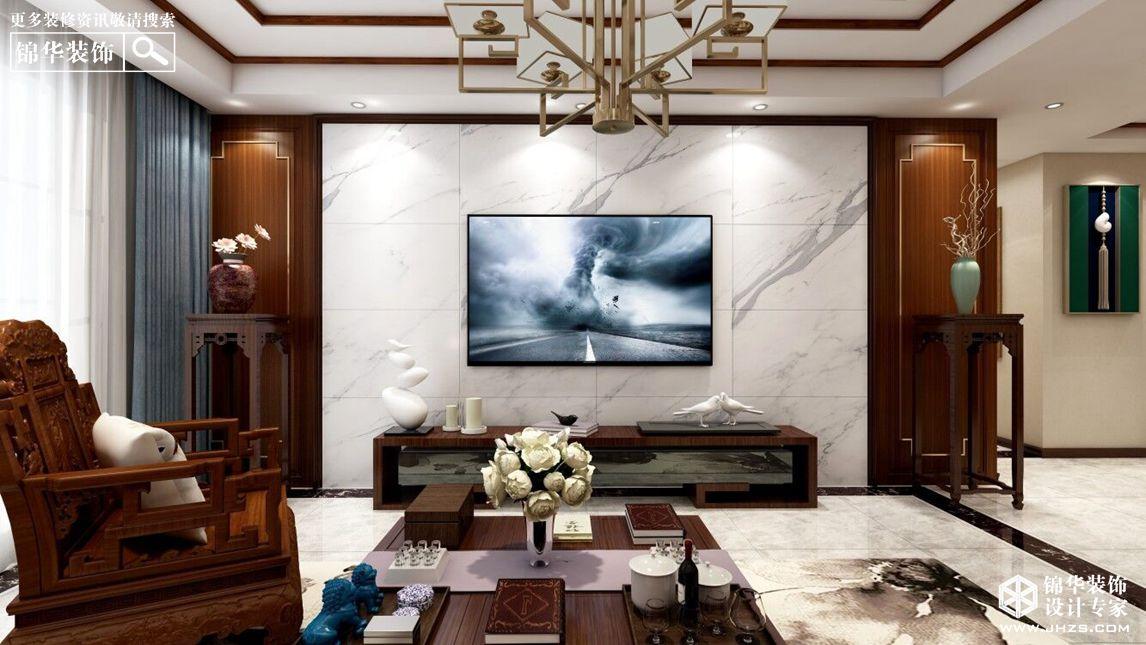 新中式风格-万悦城-三室两厅-140㎡-装修实景效果图