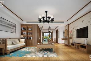 新中式风格-孔雀城-三室两厅-150㎡-装修实景效果图