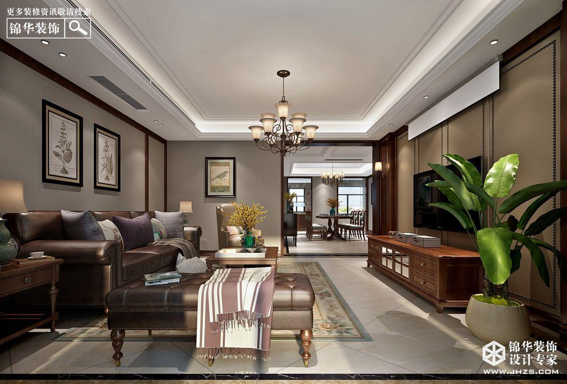 简美风格-风尚米兰-三室两厅-196㎡-360°装修实景效果图