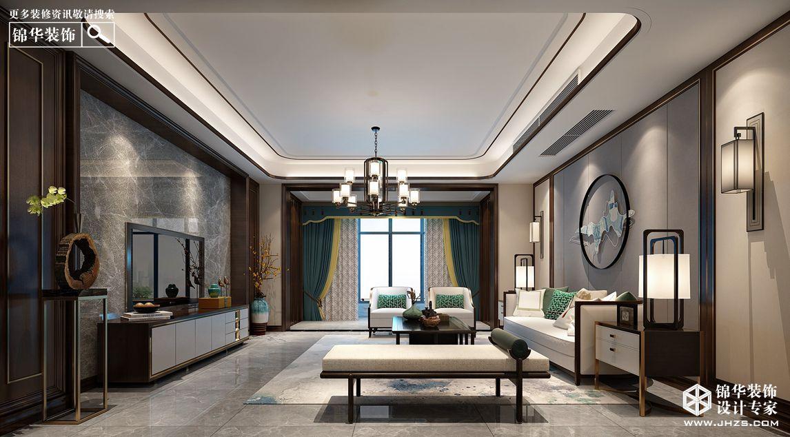 新中式风格-风尚米兰-三室两厅-206㎡-360°装修实景效果图