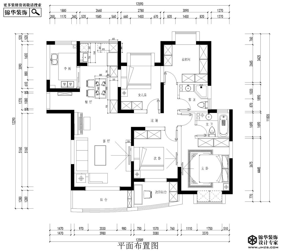 北欧风格-翠湖御景-三室一厅-143㎡-360°全景装修效果图装修-三室一厅-北欧