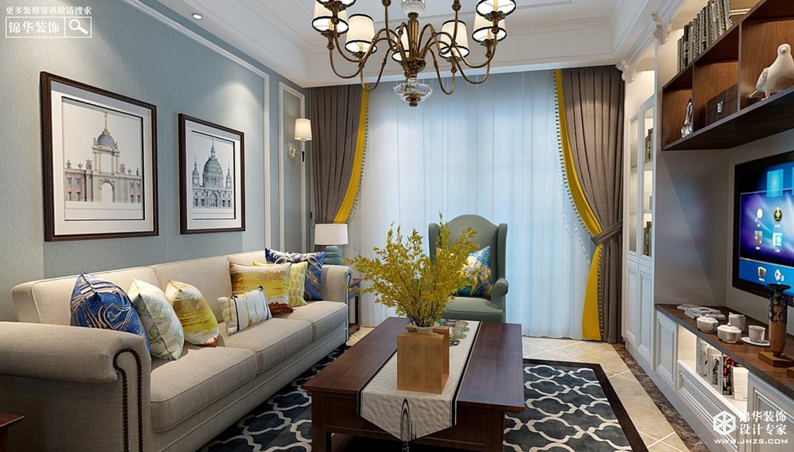 美式风格-凯旋门-两室一厅-95㎡-360°全景装修效果图