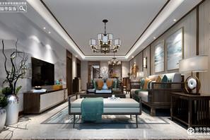 新中式风格-苏宁广场-两室一厅-140㎡-360°全景装修效果图