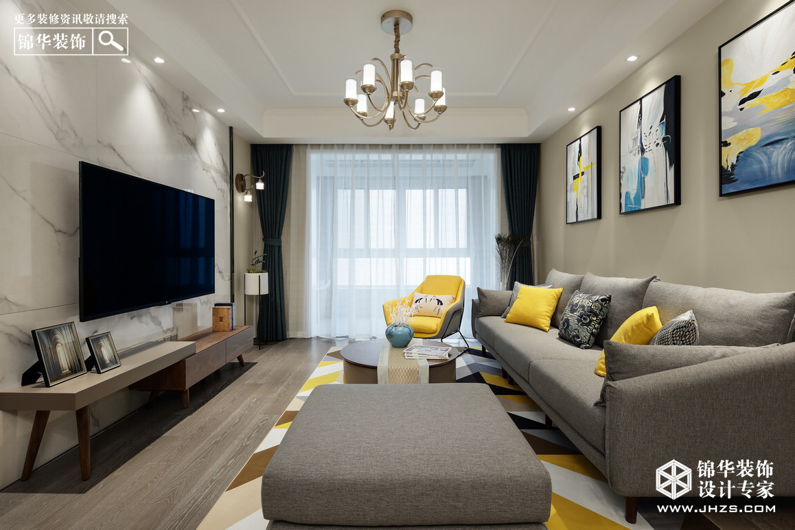 113平米现代简约风格装修-三室两厅-现代简约