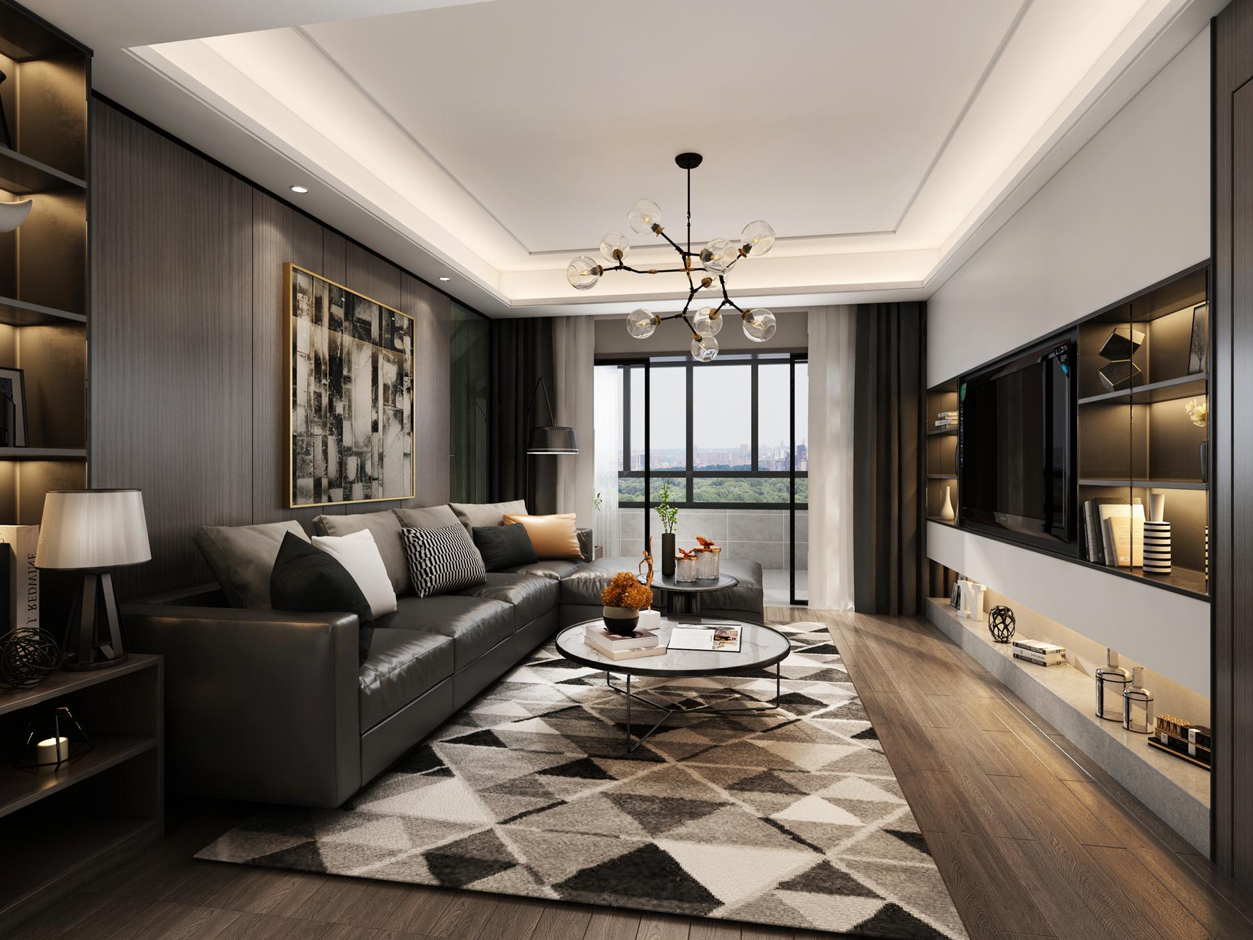 现代简约风格-万科翡翠天地-三室两厅-145㎡-360°装修实景效果图