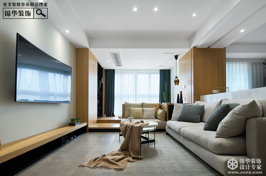 现代简约风格-绿地商务城-三室两厅-140㎡-装修实景效果图