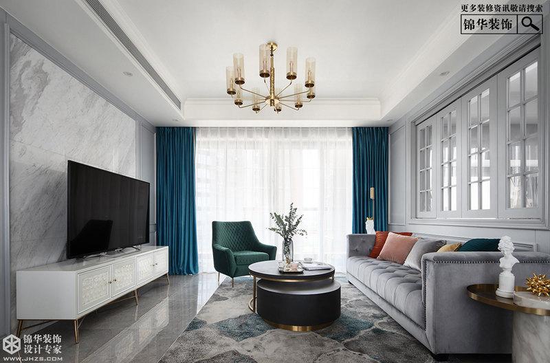 美式风格-财富春天-三室两厅-145㎡-装修实景效果图