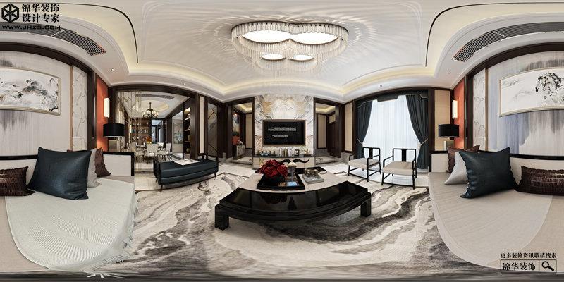 新中式风格-俪晶湾-大户型-260㎡-装修实景效果图