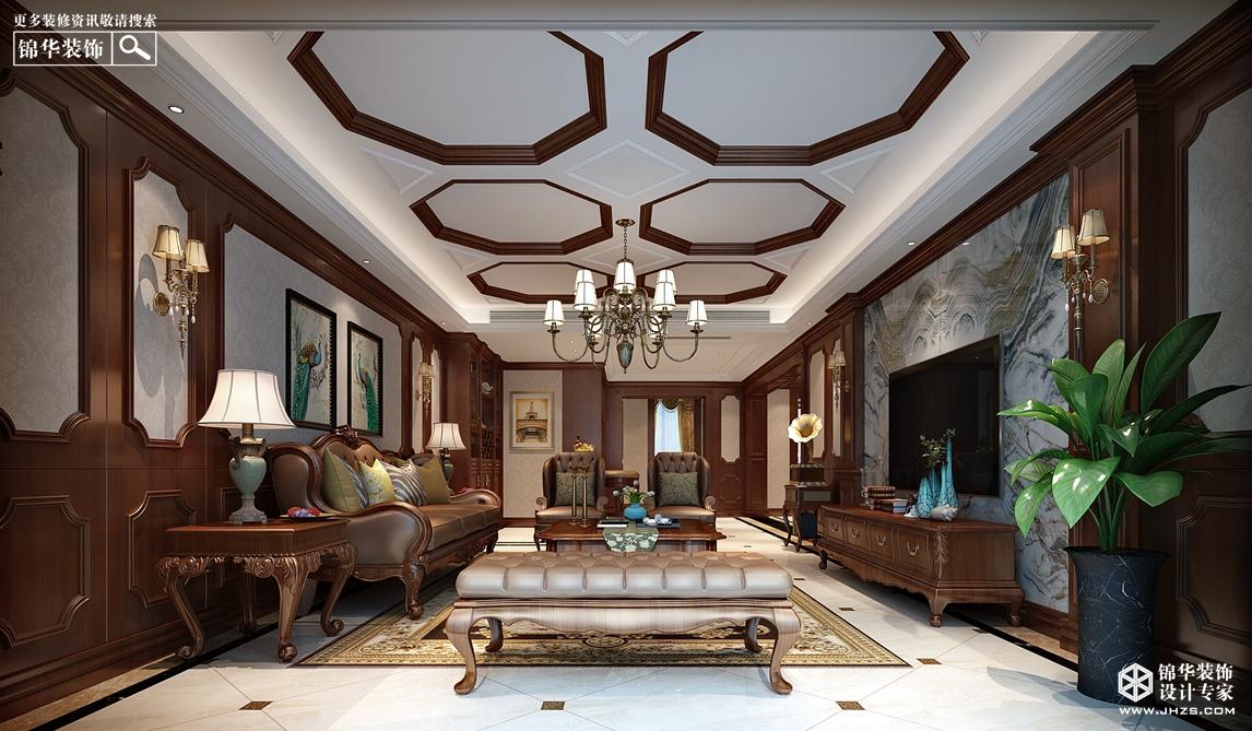 欧式古典风格-华润云龙湖悦府-三室两厅+地下室-300㎡-装修实景+全景效果图