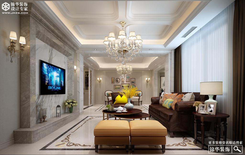 美式风格-和平上东-三室两厅+地下室-350㎡-装修实景效果图