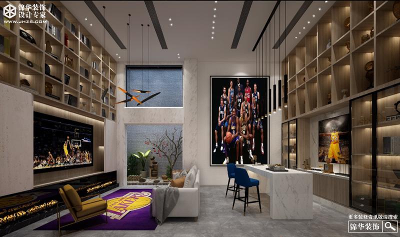 现代简约风格-和平上东-三室两厅+地下室-350㎡-装修实景效果图