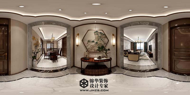 新中式风格-紫薇公馆-三室两厅两卫-175㎡-装修360°实景效果图