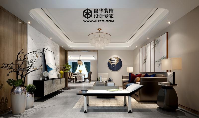 现代中式风格-风尚米兰-三室两厅两卫-180㎡-装修实景效果图