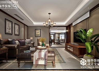 美式风格-风尚米兰-三室两厅-190㎡-装修实景效果图