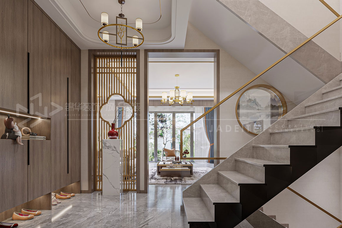 新中式-宝龙官邸-320㎡联排装修-别墅-新中式