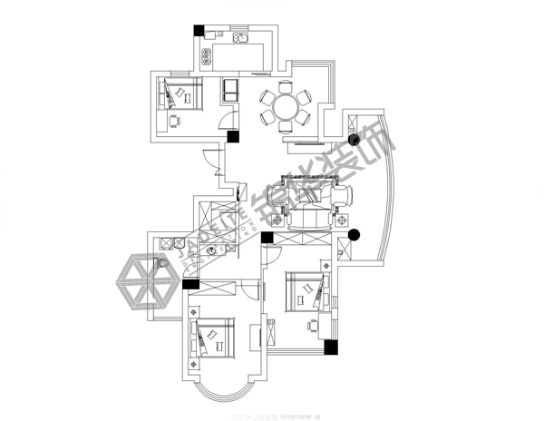 钱江方洲--欧式清新-140㎡(实景)装修-三室两厅-欧式古典