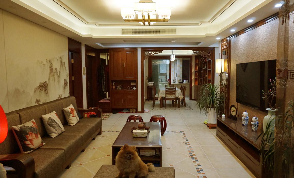 """南门华府--以""""荷""""为贵装修-三室两厅-新中式"""