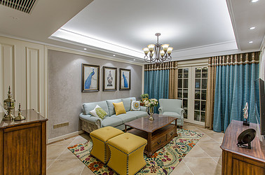 美式风格-凤凰汇-三室一厅-90㎡装修实景效果图