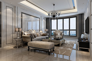 新古典风格-中南世纪花城-三室两厅-120㎡装修实景效果图