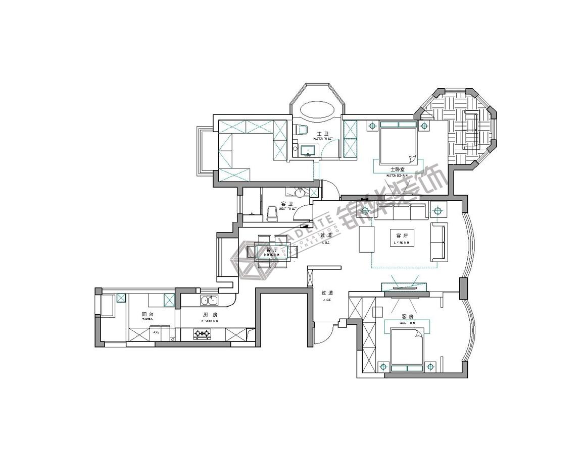 中南世纪花城--松烟入墨装修-三室两厅-新古典