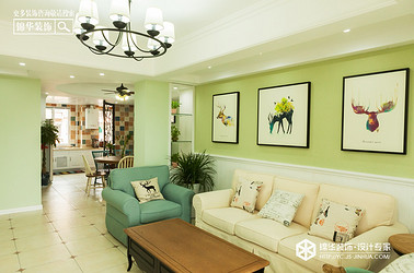 美式风格-伯乐达·城市御墅-三室两厅-120㎡装修实景效果图