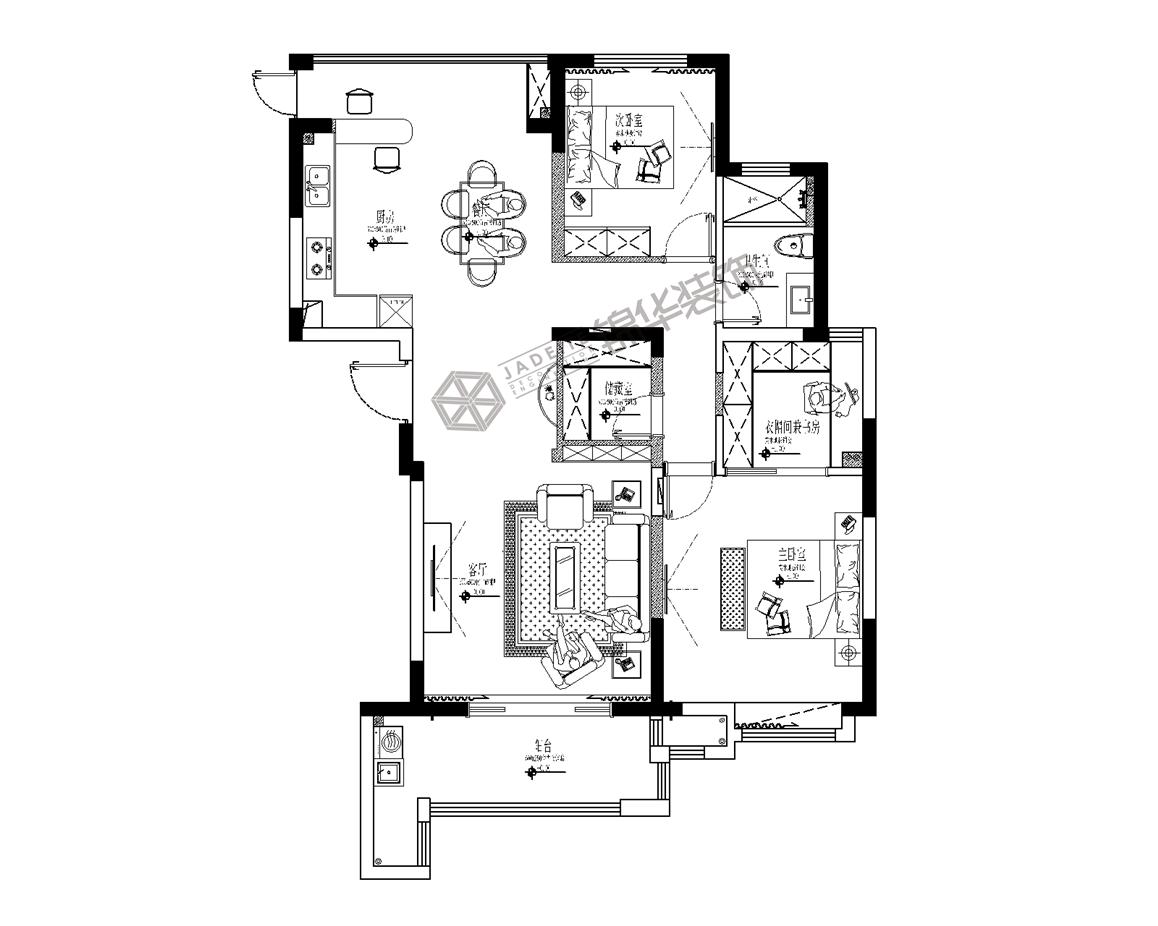 橡树湾--玩味生活装修-三室两厅-混搭