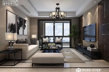 新中式-华强城-三室两厅-120㎡装修实景效果图