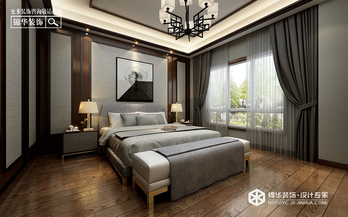 新中式风格-射阳·世外江南-别墅-470㎡装修实景效果图装修-别墅-新中式