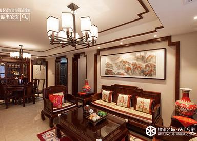 新中式风格-悦龙湾-大平层-160㎡装修实景效果图