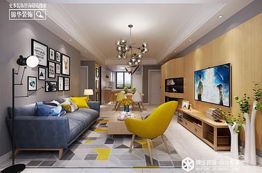 极简原木-现代简约-中南世纪城-三室两厅-108㎡装修实景效果图