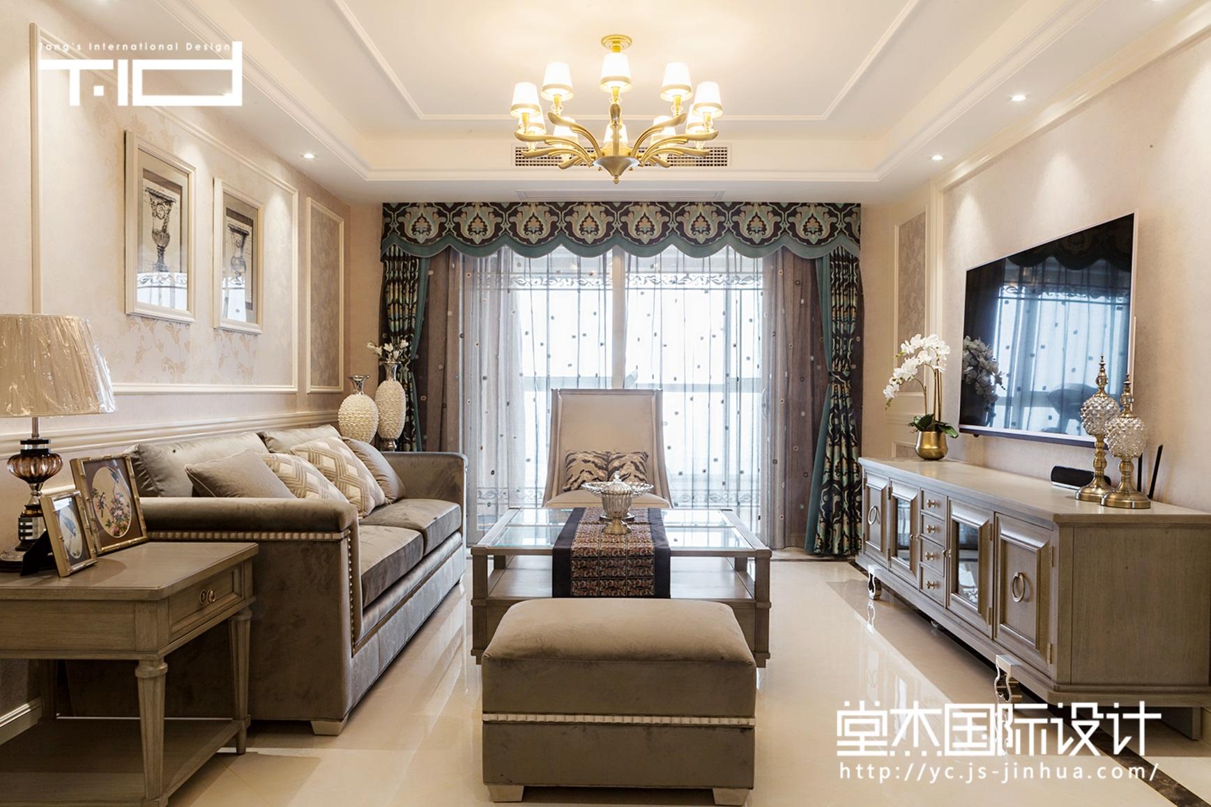 莫里印象-凤凰汇-美式-三室两厅-185㎡-装修实景效果图